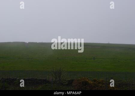Covered Landfill Site, Grass Hill under Sea Fog. Hair. Aberdeen, Scotland, UK. May, 2018. - Stock Photo