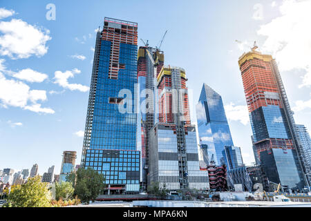 New York City, USA - October 30, 2017: Construction development at the Hudson Yards in Manhattan, NYC, on Chelsea West Side of residential apartments, - Stock Photo