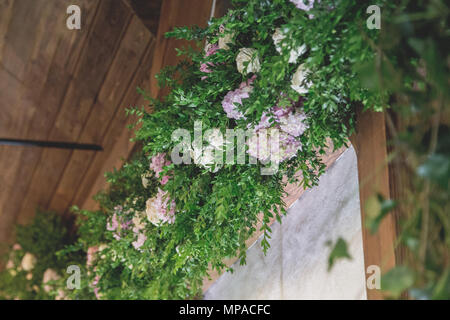Luxury, elegant wedding reception table arrangement, floral centerpiece - Stock Photo