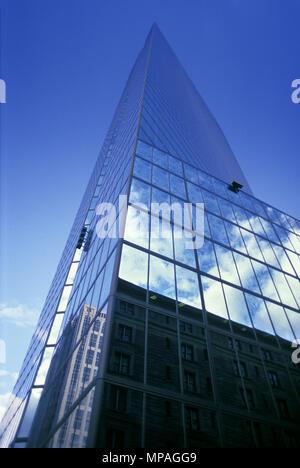 1988 HISTORICAL GLASS WALL HANCOCK TOWER COPLEY SQUARE BOSTON MASSACHUSETTS USA - Stock Photo