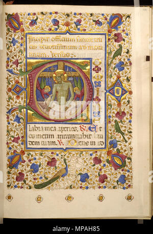 Master of Isabella di Chiaromonte. 'Initial D with Imago Pietatis (Christ on His Tomb with Marks of the Passion),' ca. 1460. ink, paint and gold on parchment. Walters Art Museum (W.328.101R): Acquired by Henry Walters. W.328.101R 870 Master of Isabella di Chiaromonte - Leaf from Book of Hours - Walters W328101R - Open Obverse - Stock Photo