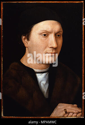 Italian: L'uomo ignoto Portrait of an unknown Man   circa 1490.   883 Hans Memling - L'uomo con la lettera - Google Art Project - Stock Photo