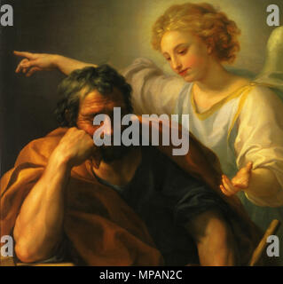 . English: The Dream of Saint Joseph by Anton Raphael Mengs. Oil on oak wood, 114 x 86 cm. Now in the Kunsthistorisches Museum, Vienna. between 1773 and 1774.   Anton Raphael Mengs (1728–1779)   Alternative names Mengs  Description German painter and art historian Neoclassical  Date of birth/death 22 March 1728 29 June 1779  Location of birth/death Ústí nad Labem, Bohemia Rome  Work period 1749-1779  Work location Rome, Madrid (1761-1769), Dresden  Authority control  : Q76718 VIAF:54179382 ISNI:0000 0001 0857 5632 ULAN:500009824 LCCN:n79089094 NLA:36514878 WorldCat 884 Mengs, Traum d - Stock Photo