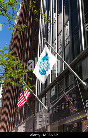 Pfizer World Headquarters Building Front, NYC - Stock Photo