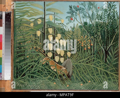 English: In a Tropical Forest. Struggle between Tiger and Bull   circa 1908-1909.   1075 Rousseau, Henri - In a Tropical Forest. Struggle between Tiger and Bull - Stock Photo