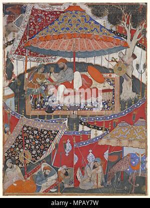 A page of the Dastan-i Amir Hamza (Hamzanama)   (c. 1567-1582).   909 Mughal - A page of the Dastan-i Amir Hamza (Hamzanama) - Google Art Project - Stock Photo