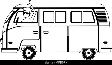 Retro Van Cartoon In Black And White Stock Vector Art Illustration