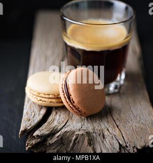 Chocolate and coffee macarons - Stock Photo