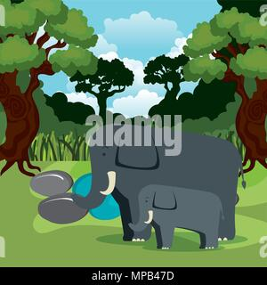 wild animals in the jungle scene - Stock Photo