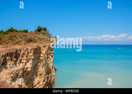 Blue Caves in the northern part of Zakynthos island, Greece. Amazing view to azure clear water and mountains.Copy space. Europe greece vacation. - Stock Photo