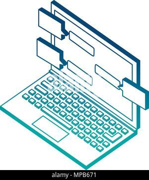 laptop speech bubble conversation isometric