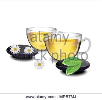 Two cups of green tea with chamomile flowers and leaves of tea i - Stock Photo