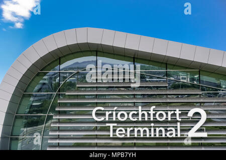 New Terminal 2, T2 Criochfort Dublin Interenational Airport, by architects Pascall & Watson. Blue sky, copy space, close up. Ireland, European Union - Stock Photo