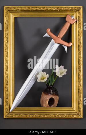 Steel Sword With Bronze Hilt In Gold Baguette Frame Medieval Symbol