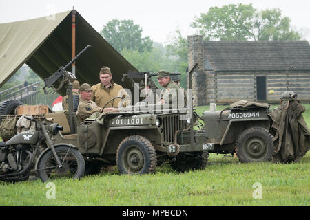 USA Pennsylvania PA Carlisle reenactors pose as World War II Two Army soldiers at the U.S. Army Heritage and Education Center - Stock Photo