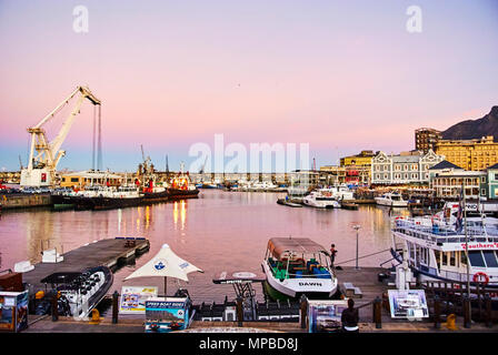 The Victoria & Alfred (V&A) Waterfront in Cape Town is situated on the Atlantic shore, Table Bay Harbour, the City of Cape Town and Table Mountain. Ad - Stock Photo
