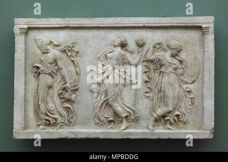 Relief with dancing Maenads. Roman marble copy from the late 1st century BC after a Greek original of the Classical period dated from the 5th century BC by Callimachus on display in the Uffizi Gallery (Galleria degli Uffizi) in Florence, Tuscany, Italy. - Stock Photo