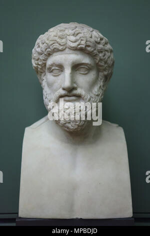 Portrait of an unknown sitter known as Sophocles. Roman marble copy from the 2nd century AD based on a Greek original from 5th century BC on display in the Uffizi Gallery (Galleria degli Uffizi) in Florence, Tuscany, Italy. - Stock Photo