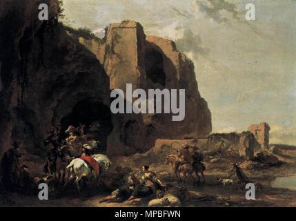 Return from the Falcon Hunt. Alternative title(s): Zuidelijk landschap met valkenjagers bij een Romeinse ruïne.[1]   circa 1650.   926 Nicolaes Pietersz. Berchem 007 - Stock Photo