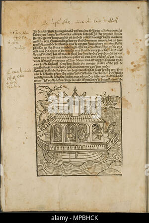 . Illustration from the incunabulum: Cronecken der Sassen (The Chronicles of Saxony) printed by Peter Schöffer in Mainz. 1492. Conrad Bote (Konrad Botho) 932 Noah's Ark - p00010 - Stock Photo