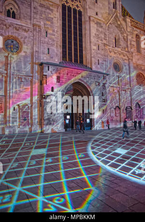 Vienna, Austria - January 8, 2014: Evening Laser show at Stephansplatz at the entrance of St Stephen Cathedral, Vienna, Austria. People on the backgro - Stock Photo