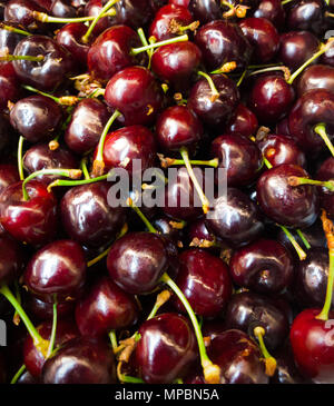 closeup pile of natural  fresh delicious red cherry fruit - Stock Photo