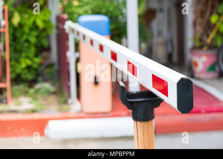 Close up Barrier Gate Automatic system for security. Automatic entry system. - Stock Photo