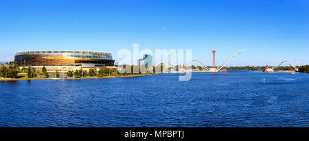 Matagarup Bridge under construction beside Perth Optus Stadium. - Stock Photo