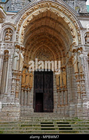 Portal of Cathedral of Our Lady of Chartres in Eure et Loir department of Loire Valley, in France. - Stock Photo