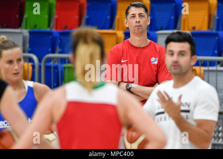 Prague, Czech Republic. 22nd May, 2018. Coach DJ Sackmann (right) trains the Czech Republic women´s national basketball team during the Day for media in Prague, Czech Republic, May 22, 2018. Coach of Czech Team Stefan Svitek (2nd right) looks at the training session. Credit: Michal Kamaryt/CTK Photo/Alamy Live News - Stock Photo