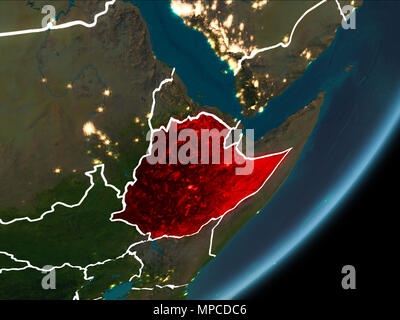 Ethiopia as seen from Earth's orbit on planet Earth at night highlighted in red with visible borders and city lights. 3D illustration. Elements of thi - Stock Photo