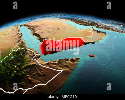 Morning above Yemen highlighted in red on model of planet Earth in space with visible border lines and city lights. 3D illustration. Elements of this  - Stock Photo