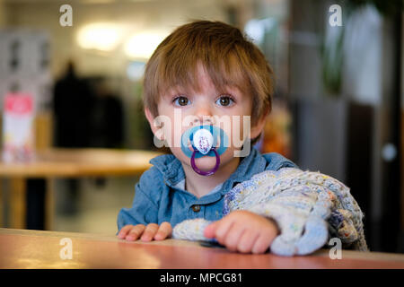 18 month old baby boy sat in high chair with dummy and comfort blanket - Stock Photo