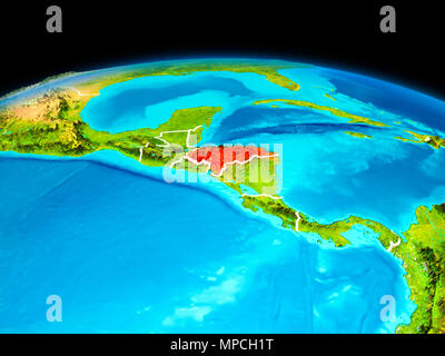 Satellite view of Honduras highlighted in red on planet Earth with borderlines. 3D illustration. Elements of this image furnished by NASA. - Stock Photo