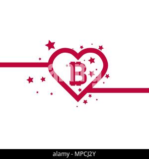 Illustration of a long shadow heart with a bitcoin sign and stars - Stock Photo