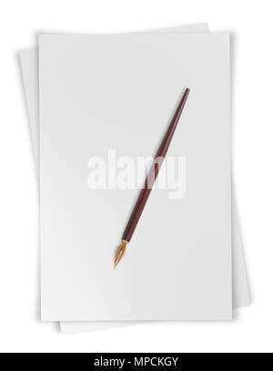 Paper sheets with nib isolated on  white background - Stock Photo