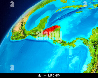 Orbit view of Honduras highlighted in red on planet Earth. 3D illustration. Elements of this image furnished by NASA. - Stock Photo