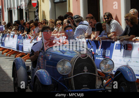 Ospitaletto, Italy. 21th, May 2017.  Crew composed by Juan Tonconogy and Guillermo Berisso from Argentina with their model car, BUGATTI Type 40 1927 - - Stock Photo