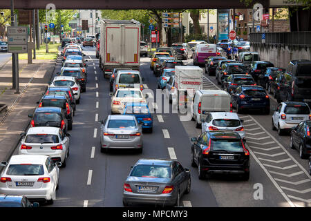 Europe, Germany, Cologne, traffic jam on the Rheinufer street, exit from the Rheinufer tunnel heading south.  Europa, Deutschland, Koeln, Stau auf der - Stock Photo