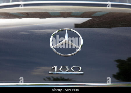 old Mercedes-Benz 180 (W 120), production 1953–1962, star and type on the rear lid, Cologne, Germany.  alter Mercedes-Benz 180 (W 120), Produktionszei - Stock Photo