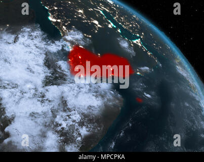 Night above Yemen highlighted in red on model of planet Earth in space. 3D illustration. Elements of this image furnished by NASA. - Stock Photo