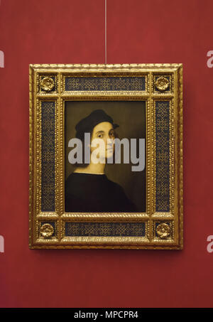 Self-portrait of Italian Renaissance painter Raphael dated from circa 1506 on display in the Uffizi Gallery (Galleria degli Uffizi) in Florence, Tuscany, Italy. - Stock Photo