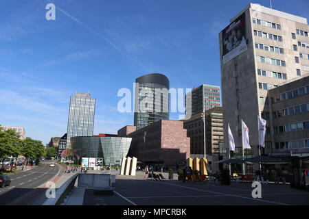 Dortmund, Ruhr Area, North Rhine Westphalia, Germany - April 16 2018: Inner City skyline buildings - Stock Photo