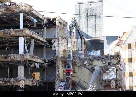 Dortmund, Ruhr Area, North Rhine Westphalia, Germany - April 16 2018: Demolition work at Place of leeds near Kamp street - Stock Photo