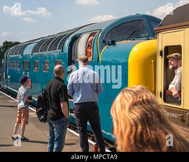 Spring Diesel Gala at SVR, Kidderminster. Rail enthusiasts admire a class 55 diesel engine Royal Highland Fusilier on the platform awaiting departure. - Stock Photo