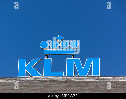 Amsterdam, Netherlands-october 10, 2015: KLM sign on top of a building in Amsterdam - Stock Photo