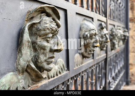 Detail iron face from the fence of the Cathedral of Santa Maria la Menor the oldest Cathedral in the Americas in Santo Domingo, Dominikan Republic - Stock Photo