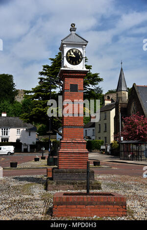 Pictures taken around the historic town of Usk in South Wales, showing the town square and clock,   River Usk,   Emporium in Bridge Street, police stn - Stock Photo