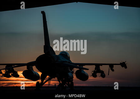 An F-16 Fighting Falcons sits on the flightline at sunset at the 407th Air Expeditionary Group Feb. 4, 2017. The F-16 is part of the 134th Expeditionary Fighter Squadron, supporting Operation Inherent Resolve in the fight against the Islamic State of Iraq and the Levant. (U.S. Air Force photo/Master Sgt. Benjamin Wilson)(Released) - Stock Photo