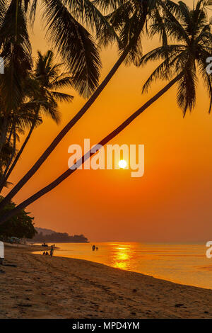 Sunset on the beach of Bang Por. Koh Samui, Thailand. - Stock Photo